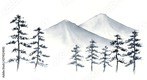 Photo 山 松の木 水墨画 墨絵