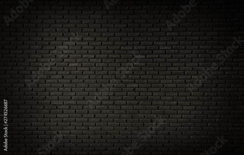 Abstract Black Brick Wall Texture For Background Pattern