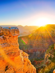 The beautiful view of Grand Canyon from the south rim of Grand Canyon National Park at sunrise.