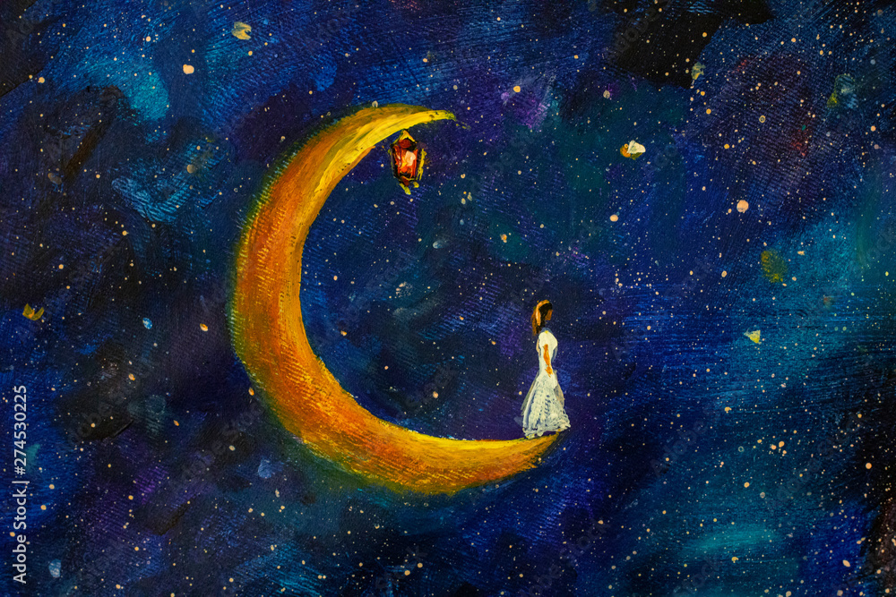 Fototapeta Painting oil - Girl on a big moon in space, illustration for fairy tale, fabulous worlds - modern art impressionism abstract landscape acrylic paint artwork