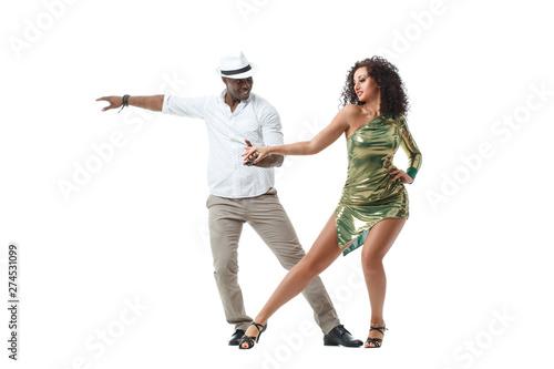 Valokuva  Elegant black man and gorgeous latin girl dancing samba isolated on white background