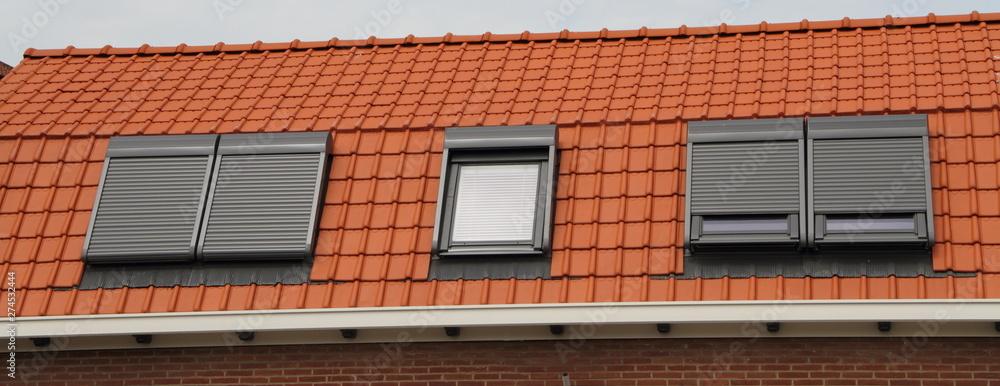 Fototapety, obrazy: Dachfenster mit rotem Ziegeldac