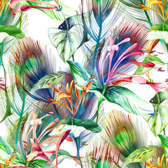 Fototapeta Do sypialni Tropical Seamless Pattern. Watercolor Background.