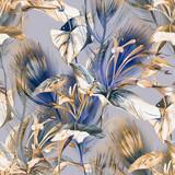 Fototapeta Kwiaty - Tropical  Seamless Pattern.  Watercolor Background.