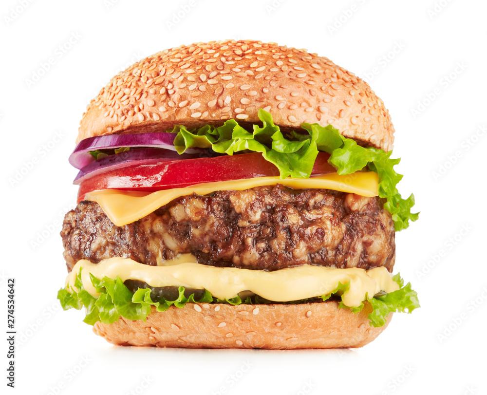 Fototapety, obrazy: fresh hamburger on white background