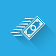 White Fast payments line icon isolated with long shadow. Fast money transfer payment. Financial services, fast loan, time is money, cash back concept. Vector Illustration