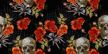 Embroidery Skull And Red Roses, Spider And Web Seamless Pattern. Horror Halloween Background. Clothes Template And T-shirt Design. Dark Gothic Art