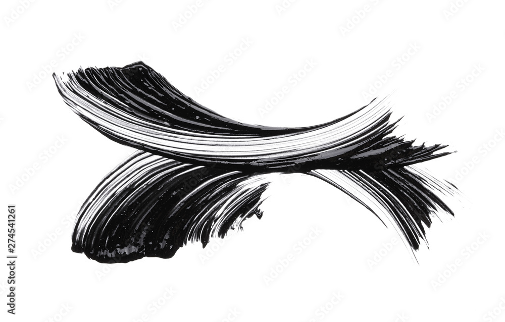 Fototapeta Black strokes and texture mascara or acrylic on a white background