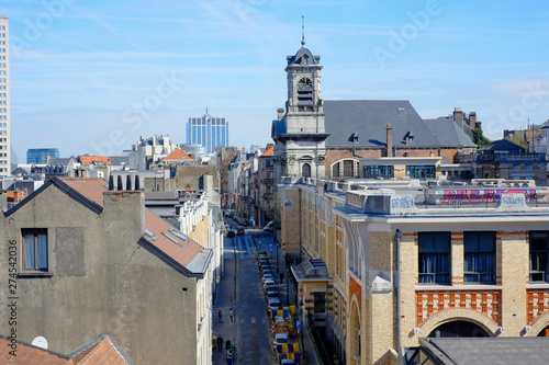 La pose en embrasure Bruxelles An aerial view over the roofs and streets of Brussels, which is the capital of Belgium and Europe