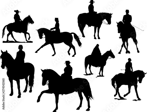 Tablou Canvas Eight  horse rider silhouettes. Vector illustration