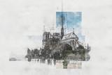 Fototapeta Fototapety Paryż - Artistic pencil sketch of Notre dame Cathedral