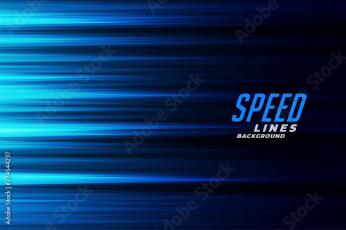 Photo glowing blue fast motion speed lines background