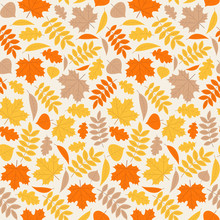 Autumn Pattern. Vector. Seamless Background With Fall Leaves. Floral Texture. Seasonal Wallpapers. Colorful Cartoon Illustration In Flat Design.