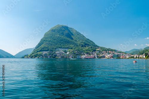 Canvas Prints Cappuccino Mountain San Salvatore and lake Lugano in Switzerland.