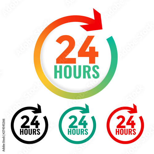 24 hours open icon in many colors Fototapet