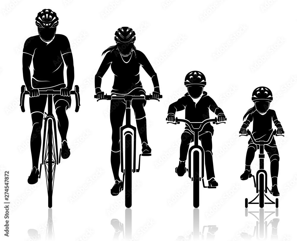 Fototapeta Family Biking Front View
