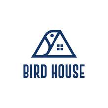 Line Art Bird House Logo