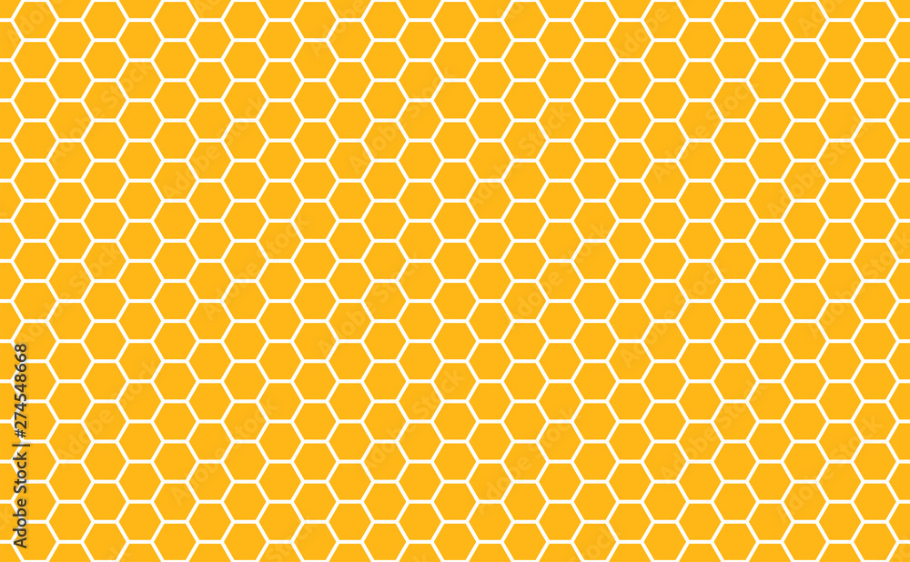 Fototapety, obrazy: Gold honey hexagonal cells seamless texture. Mosaic or speaker fabric shape pattern. Golden honeyed comb grid texture and geometric hive hexagonal honeycombs. Vector illustration