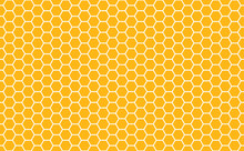 Gold Honey Hexagonal Cells Seamless Texture. Mosaic Or Speaker Fabric Shape Pattern. Golden Honeyed Comb Grid Texture And Geometric Hive Hexagonal Honeycombs. Vector Illustration