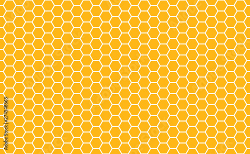 Gold honey hexagonal cells seamless texture Billede på lærred