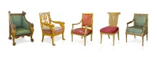 Set Of Golden Chairs Isolated On White Background