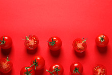 Flat Lay Composition With Ripe Cherry Tomatoes On Color Background. Space For Text