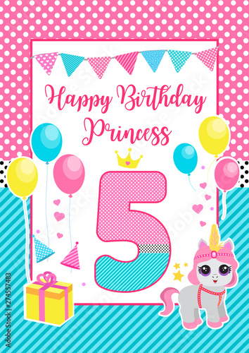 Valokuva Happy birthday greeting or invitation card for a little princess in lol doll surprise style