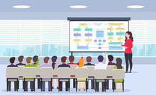 Business Person Teaches A Lecture On Business Strategy, E-commerce And Marketing For A Sitting Audience And Using A Blackboard In A Classroom. Business Presentation, Motivation For A Crowd Of People.