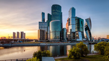 Tall Buildings Of Moscow-City At Sunset, Russia. Modern Business District At Moskva River. Urban Landscape At Dusk.