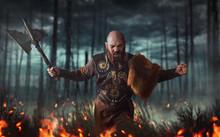 Angry Viking With Axe, Battle In Forest