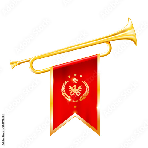 Fényképezés Antique royal horn - trumpet with triumphant flag, triumph concept