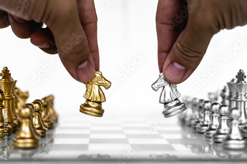 Valokuva  Chess board game, business competitive concept