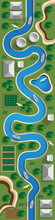 A Winding River. View From Above. Vector Illustration.