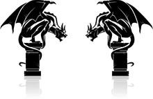 Gargoyle Shadowed Statues
