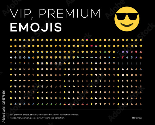 Premium emojis, stickers, emoticons flat vector illustration symbols. Hands, man, woman, people activity icons set, collection.