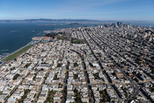 Afternoon Aerial View Of Marina District Streets, Homes And Buildings In San Francisco, California.