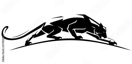 Tablou Canvas Jaguar Crawl Side View, Geometric Style