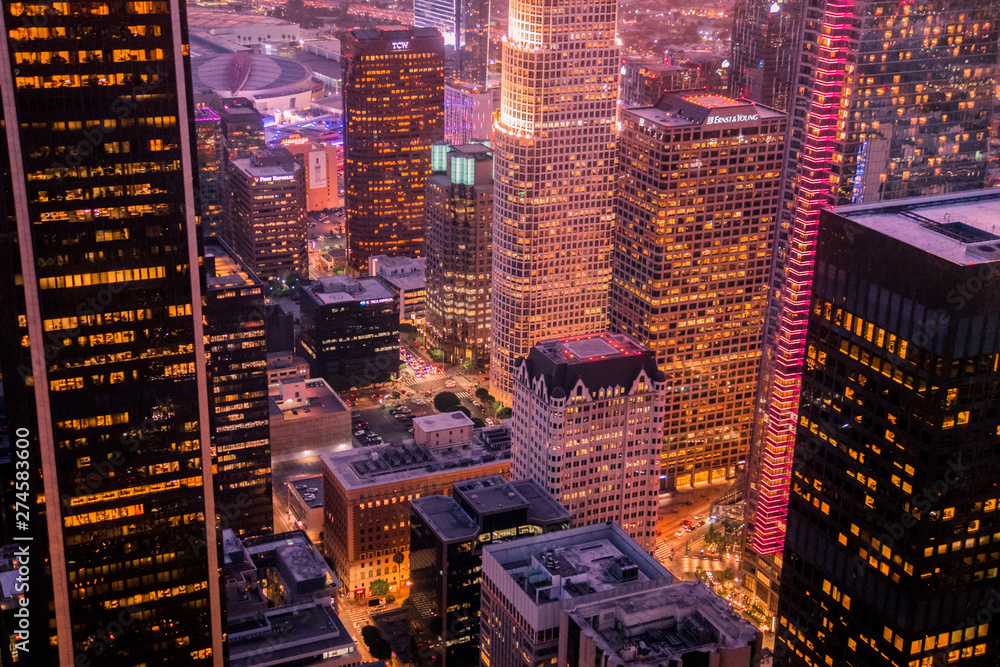 Fototapety, obrazy: Nightscape at the highest point in downtown Los Angeles