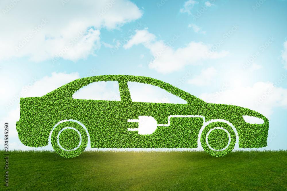 Fototapeta Green environmentally friendly vehicle concept - 3d rendering