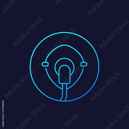 Photo oxygen mask vector icon, linear