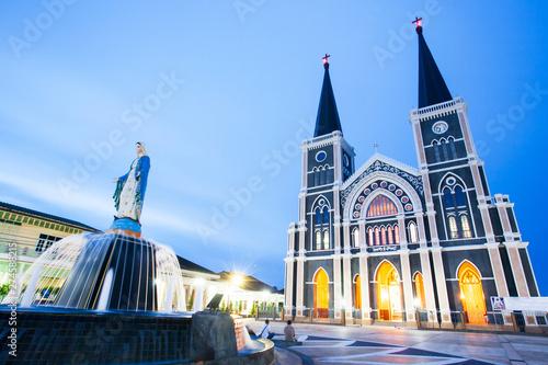 Picturesque Roman Catholic Diocese of Chanthaburi at twilight. Canvas-taulu