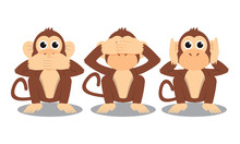 3 Monkeys Cartoon Close Mouth ...