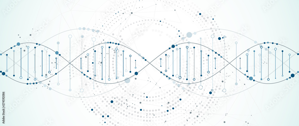 Fototapety, obrazy: Science template, wallpaper or banner with a DNA molecules. Vector illustration.