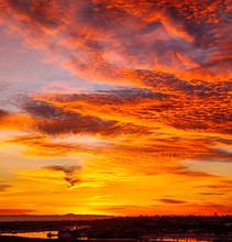 Fiery Dramatic Orange Cloud Sunset Over Catalina Island In California