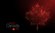 Happy Canada Day Template. Low Poly Maple Leaf.