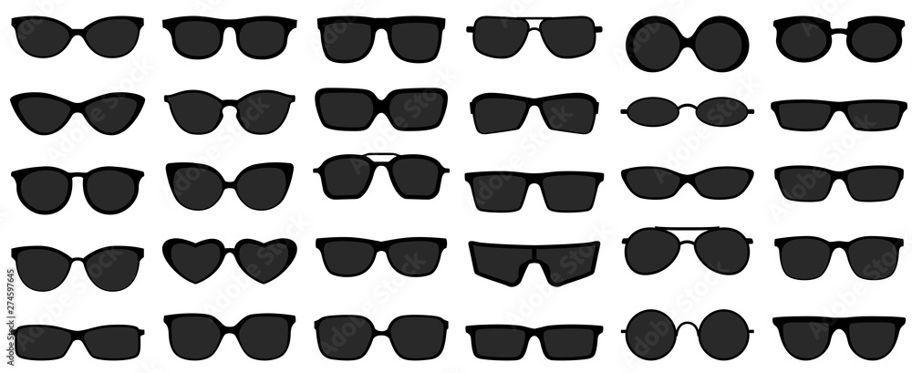 Fototapeta Sunglasses icons. Black sunglass, mens glasses silhouette and retro eyewear icon. Polarized geek glasses, hipster sun lens ocular. Isolated symbols vector set