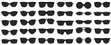 Sunglasses icons. Black sunglass, mens glasses silhouette and retro eyewear icon. Polarized geek glasses, hipster sun lens ocular. Isolated symbols vector set