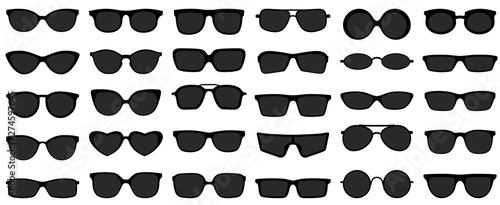 Fototapeta Sunglasses icons. Black sunglass, mens glasses silhouette and retro eyewear icon. Polarized geek glasses, hipster sun lens ocular. Isolated symbols vector set obraz