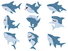 Cartoon Sharks. Comic Shark Animals, Scary Jaws And Ocean Swimming Angry Sharks. Marine Predator Fish Mascot Or Big Sea Sharks Creatures Character. Vector Illustration Isolated Icons Set