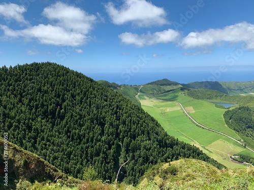 Poster Kaki Mountain landscape with lakes on São Miguel island, Azores, Portugal near Sete Cidades